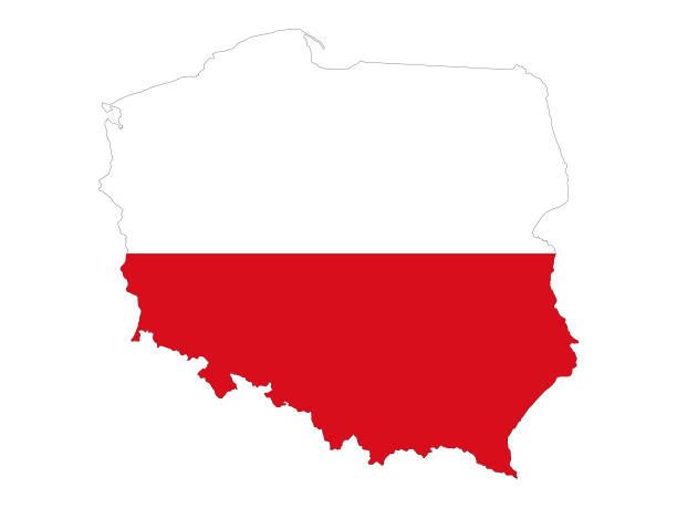 ilustraciones, imágenes clip art, dibujos animados e iconos de stock de mapa de polonia con bandera - bandera polaca