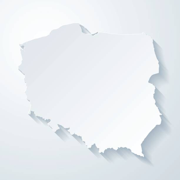 poland map with paper cut effect on blank background - polska stock illustrations