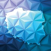 Map of Poland on a modern geometric background - Low Poly vector map.