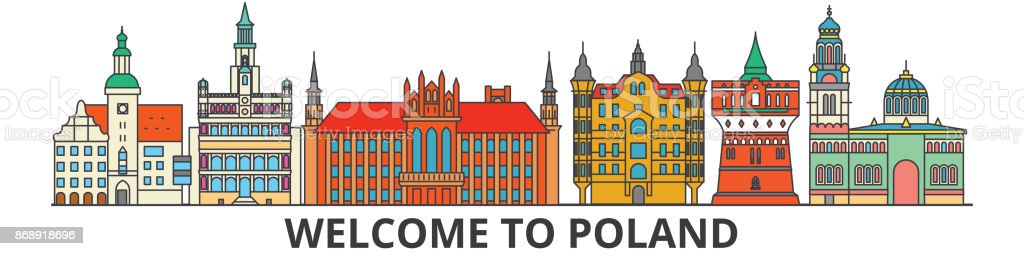 Poland outline skyline, polish flat thin line icons, landmarks, illustrations. Poland cityscape, polish travel city vector banner. Urban silhouette vector art illustration