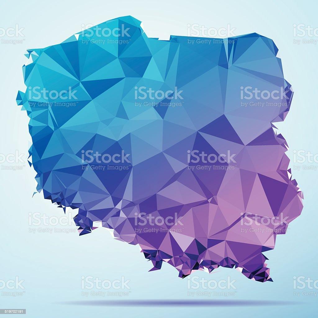 Poland Polygon Triangle Map Blue vector art illustration