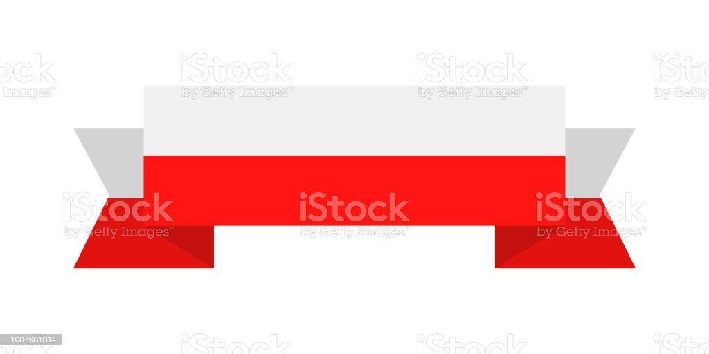 Poland - Ribbon Flag Vector Flat Icon vector art illustration