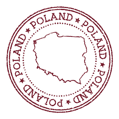 Poland round rubber stamp with country map.