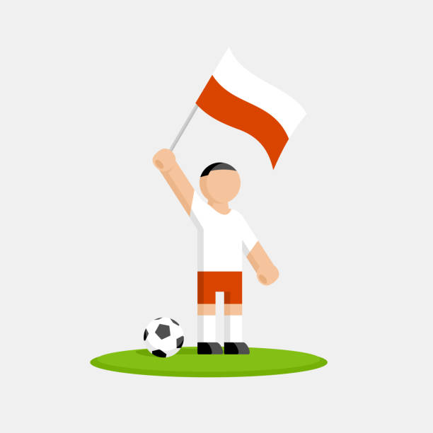 poland soccer player in kit with flag and ball - polish flag stock illustrations, clip art, cartoons, & icons