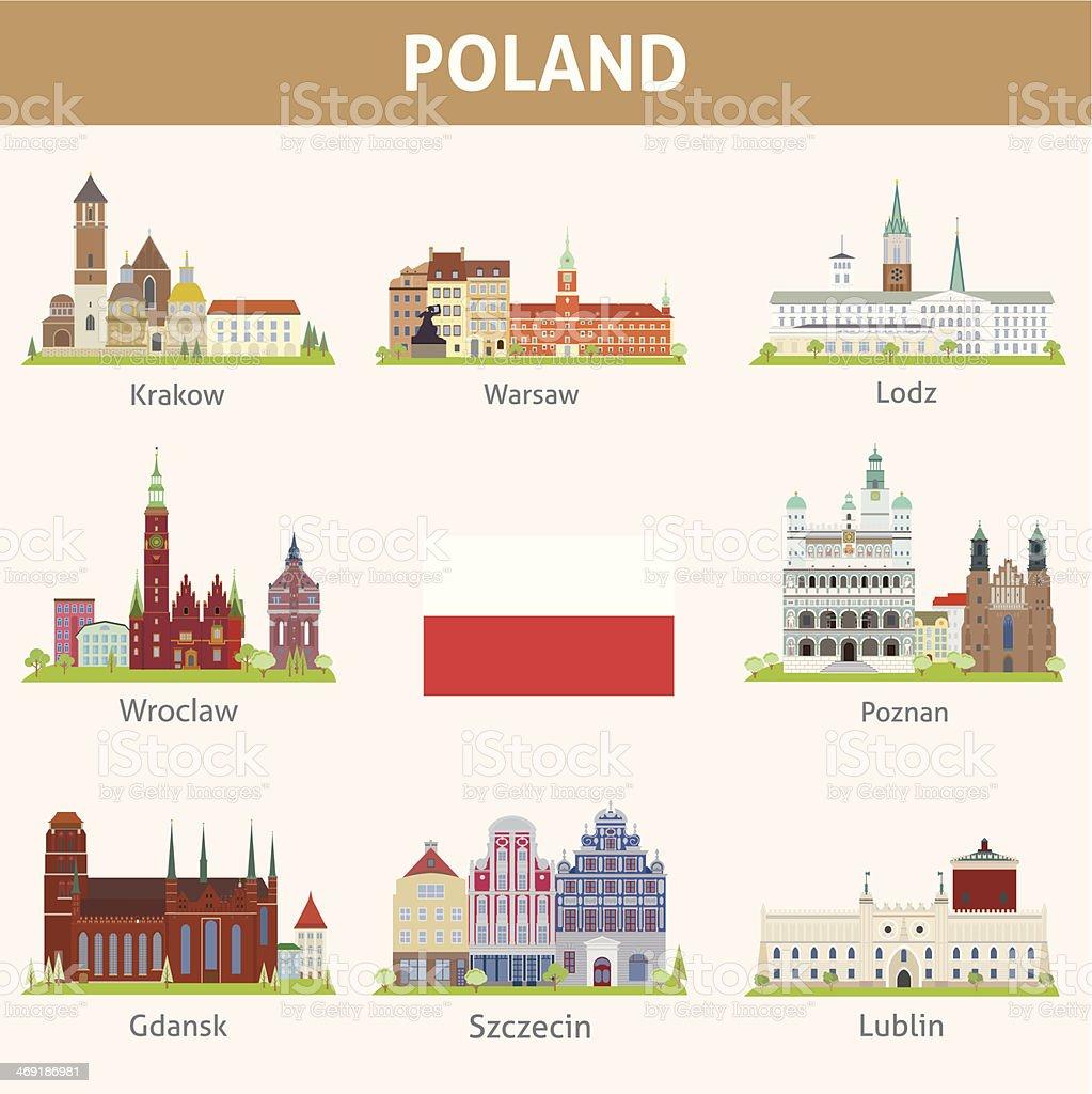Poland. Symbols of cities vector art illustration