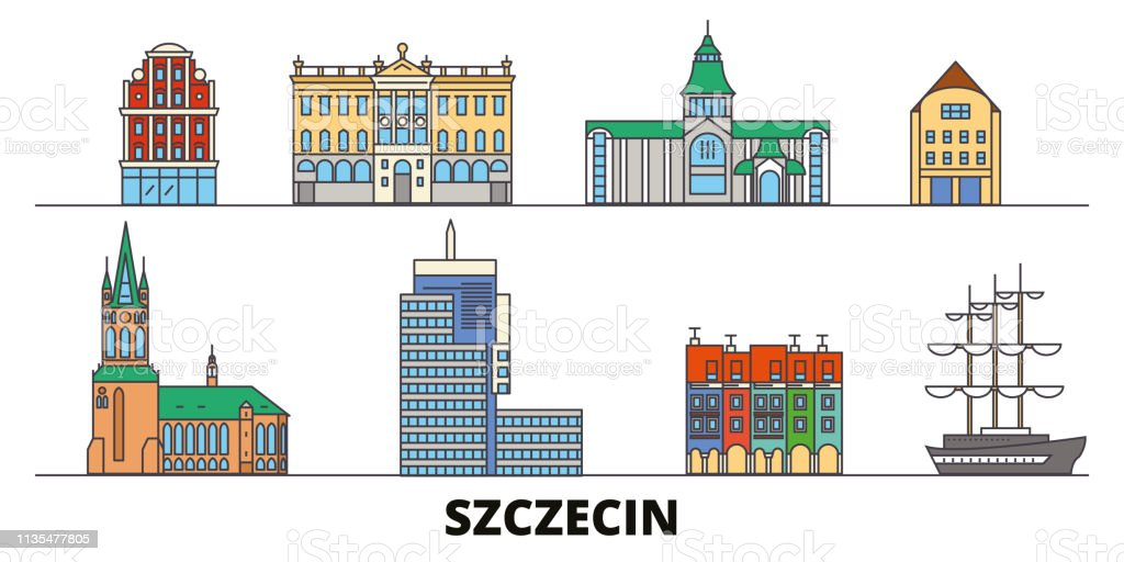 Poland, Szczecin flat landmarks vector illustration. Poland, Szczecin line city with famous travel sights, skyline, design.