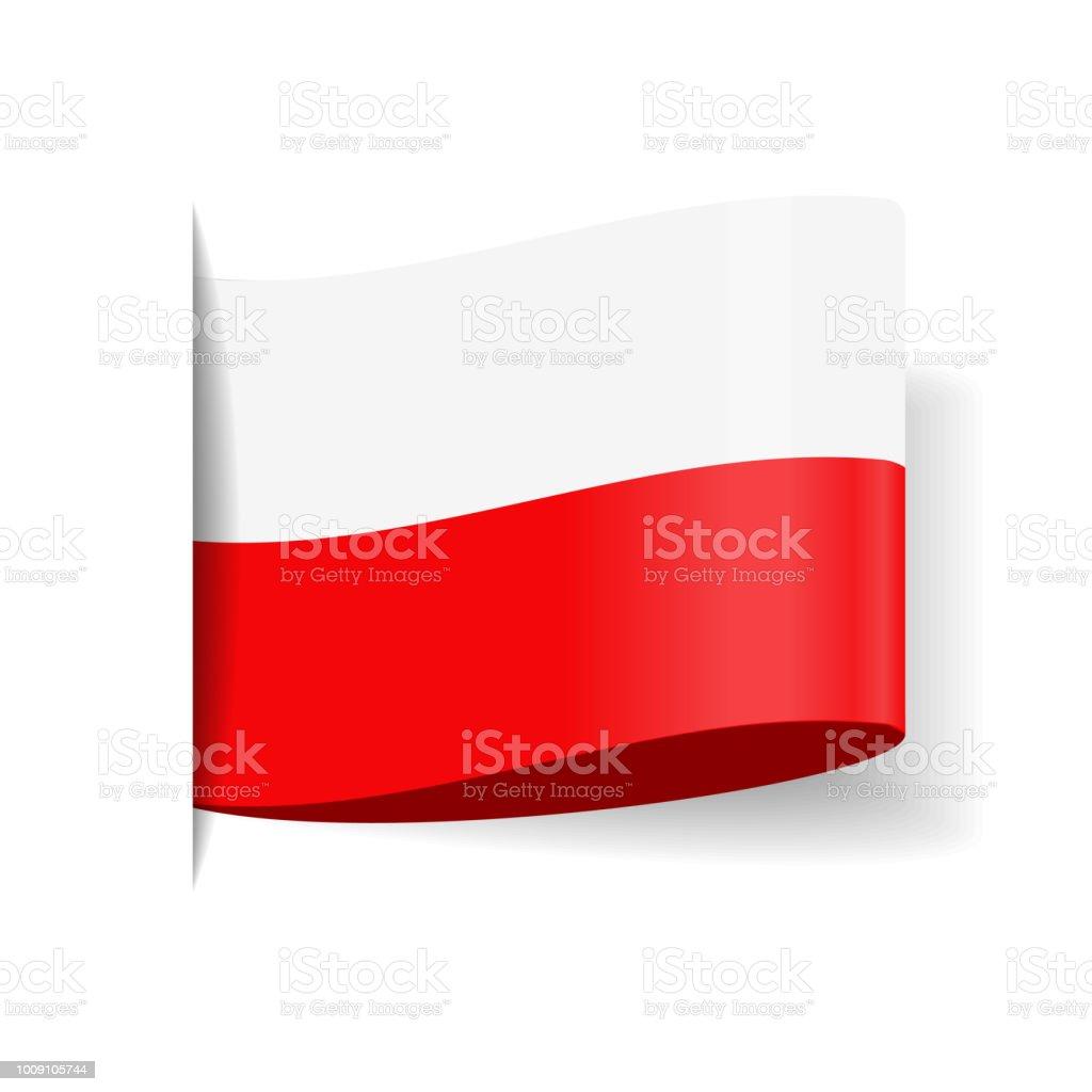 Polen - Tag Label Vector flache Flaggensymbol – Vektorgrafik
