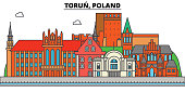 Poland, Torun. City skyline, architecture, buildings, streets, silhouette, landscape, panorama, landmarks. Editable strokes. Flat design line vector illustration concept. Isolated icons set