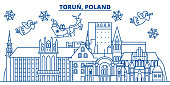 Poland, Torun winter city skyline. Merry Christmas, Happy New Year decorated banner with Santa Claus.Winter greeting line card.Flat, outline vector.Linear christmas snow illustration