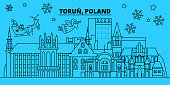 Poland, Torun winter holidays skyline. Merry Christmas, Happy New Year decorated banner with Santa Claus.Poland, Torun linear christmas city vector flat illustration