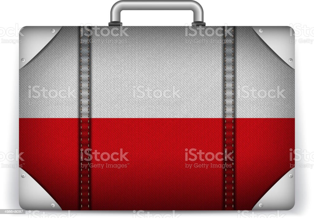 Poland Travel Luggage with Flag for Vacation vector art illustration