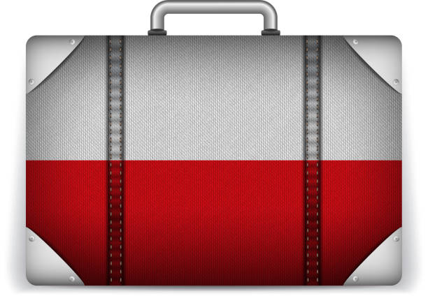 poland travel luggage with flag for vacation - polish flag stock illustrations, clip art, cartoons, & icons