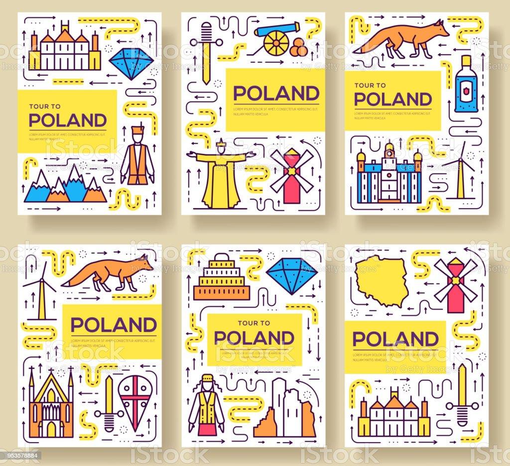 Polen Vektor Broschüre Karten Dünne Linie Set Land Reisen Vorlage ...