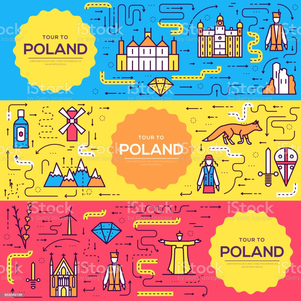 Poland Vector Brochure Cards Thin Line Set Country Travel