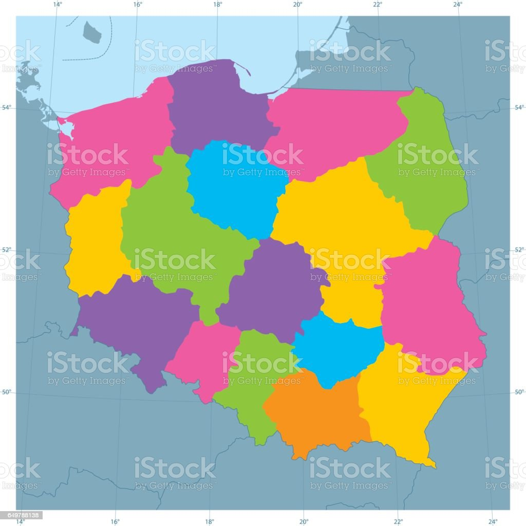 Poland Vector Map Colorful Administrative Divisions Stock Vector Art