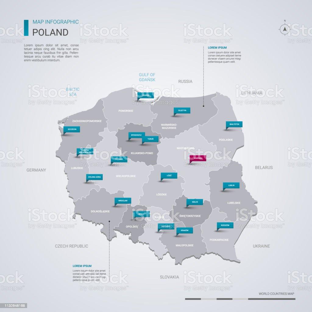 Polen vector kaart met infographic elementen, pointer markeringen. - Royalty-free Blauw vectorkunst