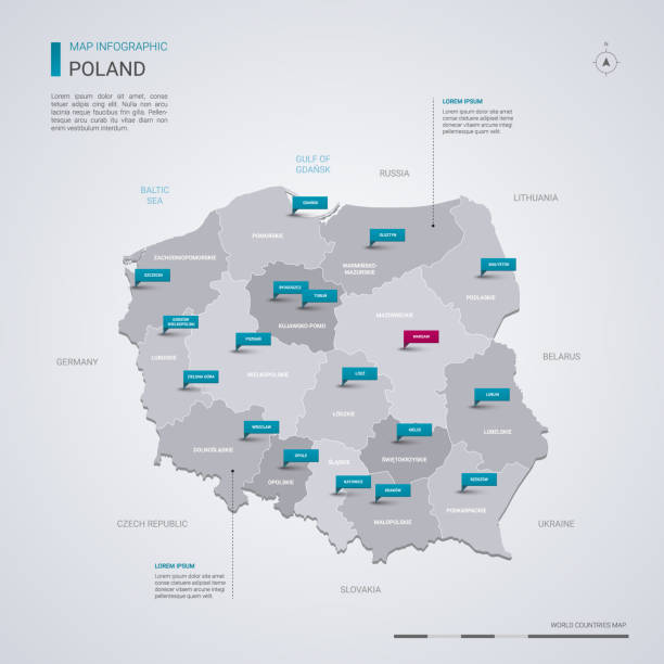 poland vector map with infographic elements, pointer marks. - polska stock illustrations