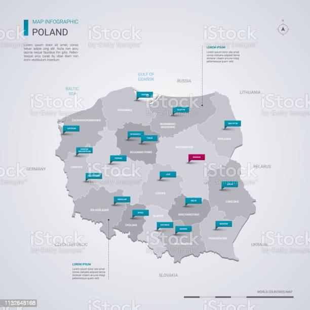 Polen Vector Kaart Met Infographic Elementen Pointer Markeringen Stockvectorkunst en meer beelden van Blauw
