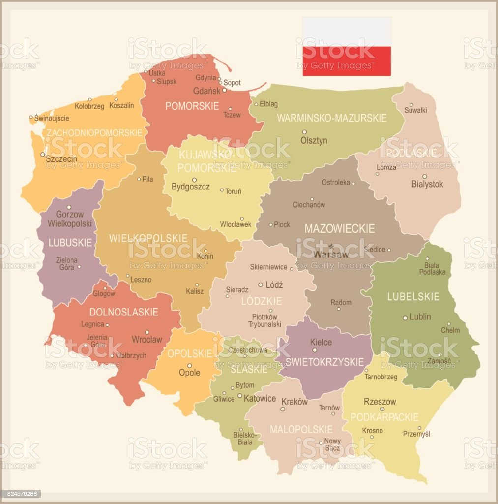 Poland Vintage Map And Flag Illustration Stock Vector Art More