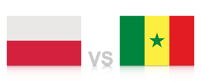 Poland vs. Senegal. Russia 2018. National flags with reflection isolated on white background.