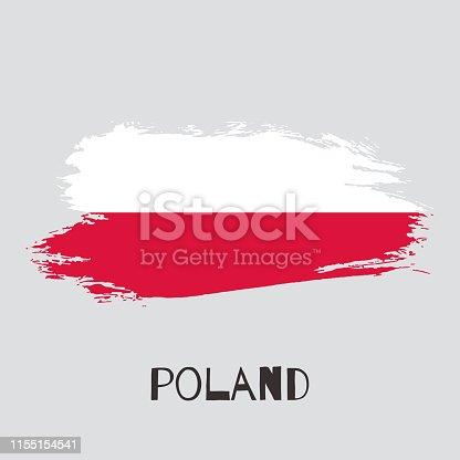 944453740 istock photo Poland watercolor vector national country flag icon 1155154541