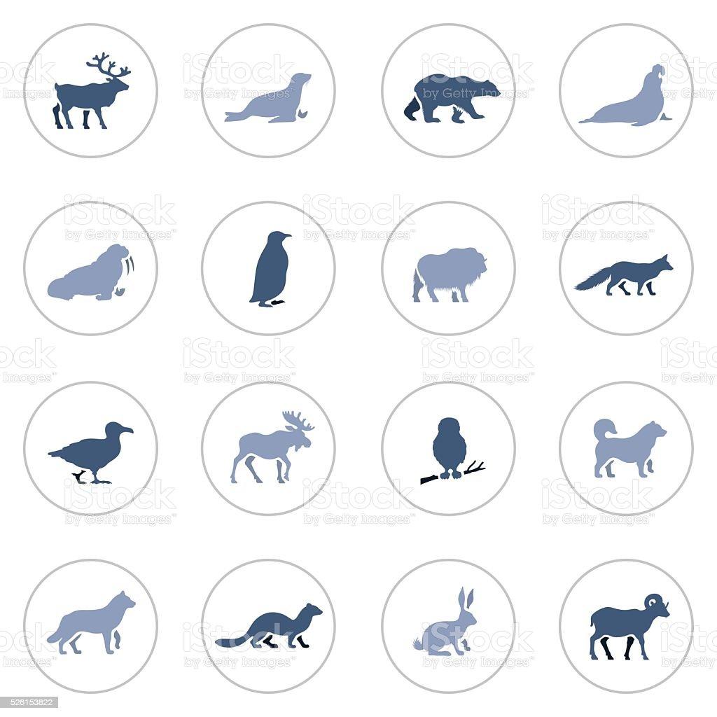 Polar Animals Icon Set vector art illustration