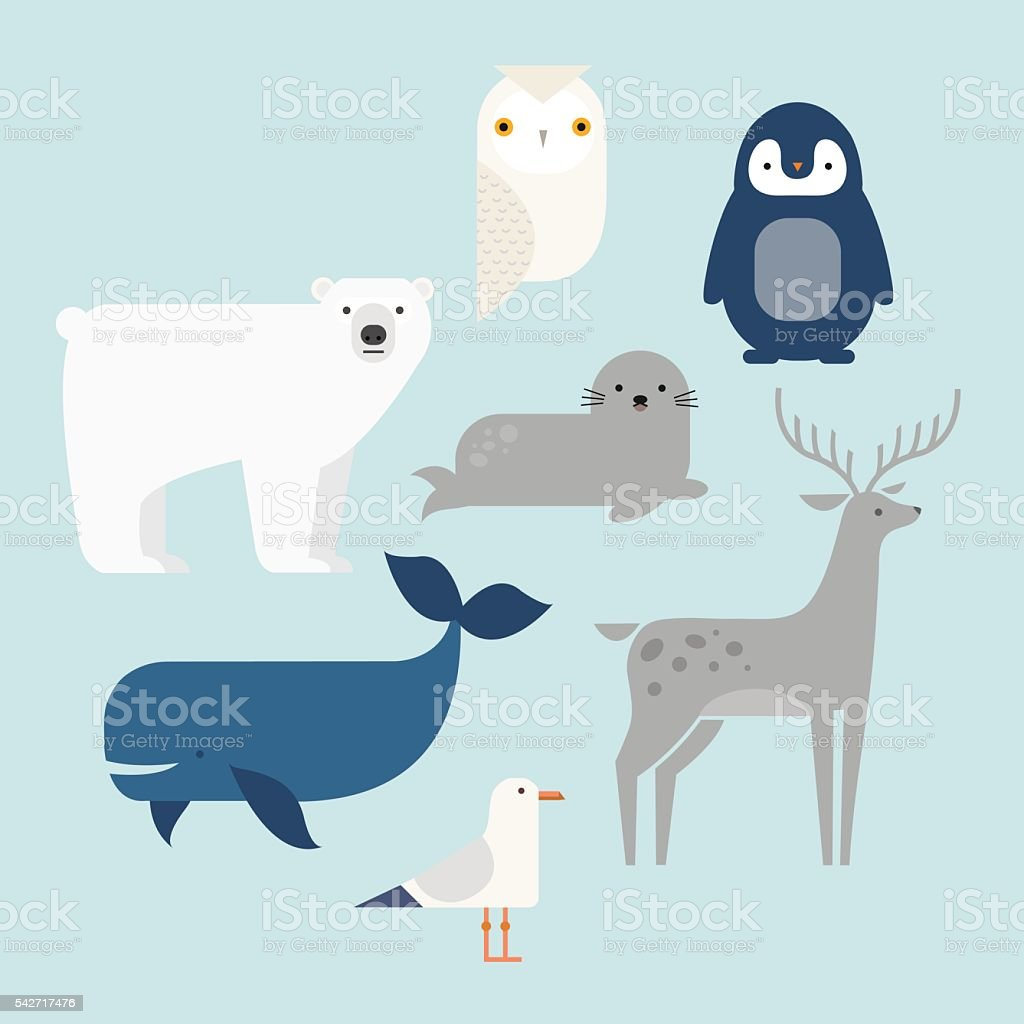Vector set Arctic and Antarctic animals. Penguin, polar bear, seal,...