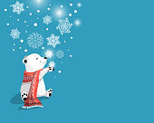 polar baby bear on blue background with beautiful snowflakes and tex Merry Christmas.Vector cartoon character,Christmas greeting card