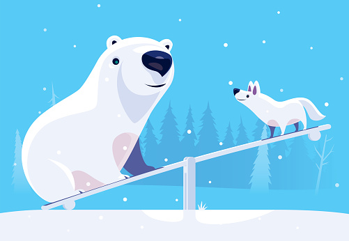 polar bear and artic wolf meeting at seesaw