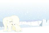 Polar bear and cub on the ice