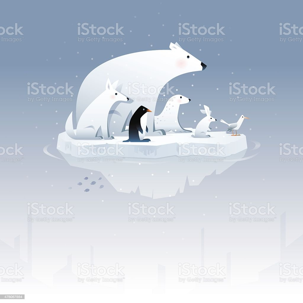 polar bear and friends vector art illustration