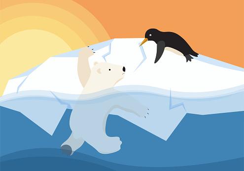 Polar bear and glaciers