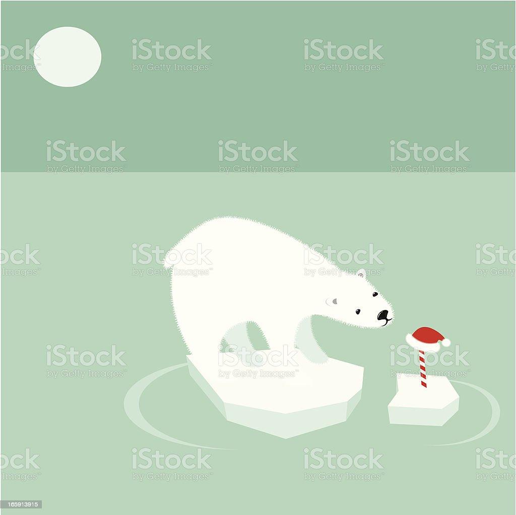 Polar bear and global warming vector art illustration