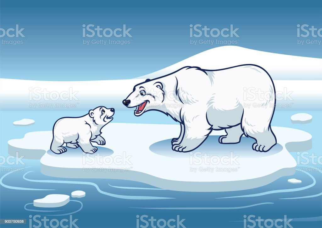 Polar bear and her cub standing in the top of the ice vector art illustration