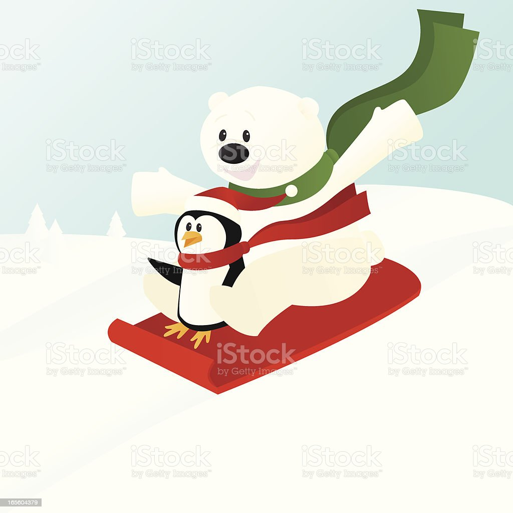 Polar Bear and Penguin on Sled vector art illustration