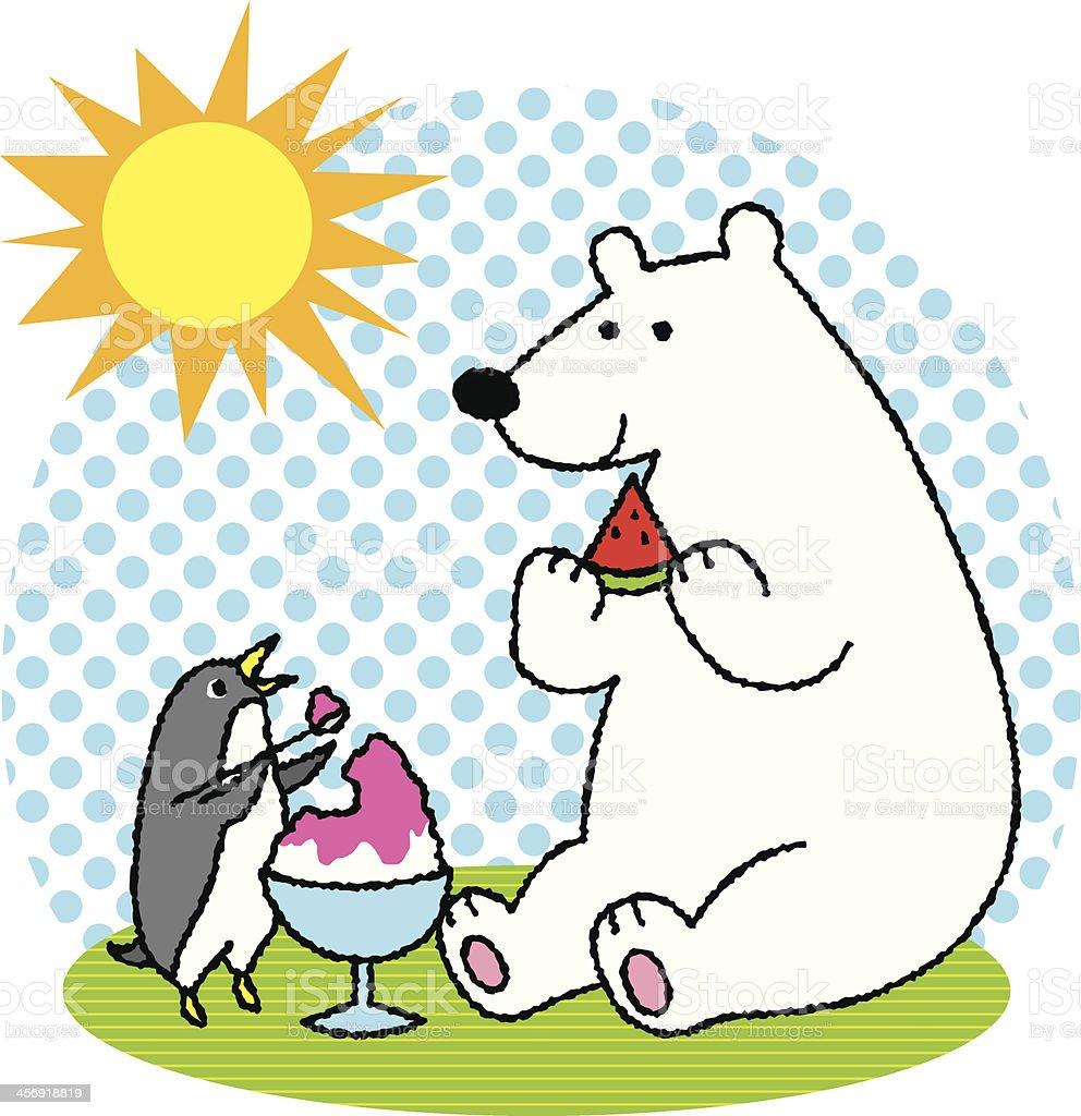 Polar bear and Penguin royalty-free stock vector art
