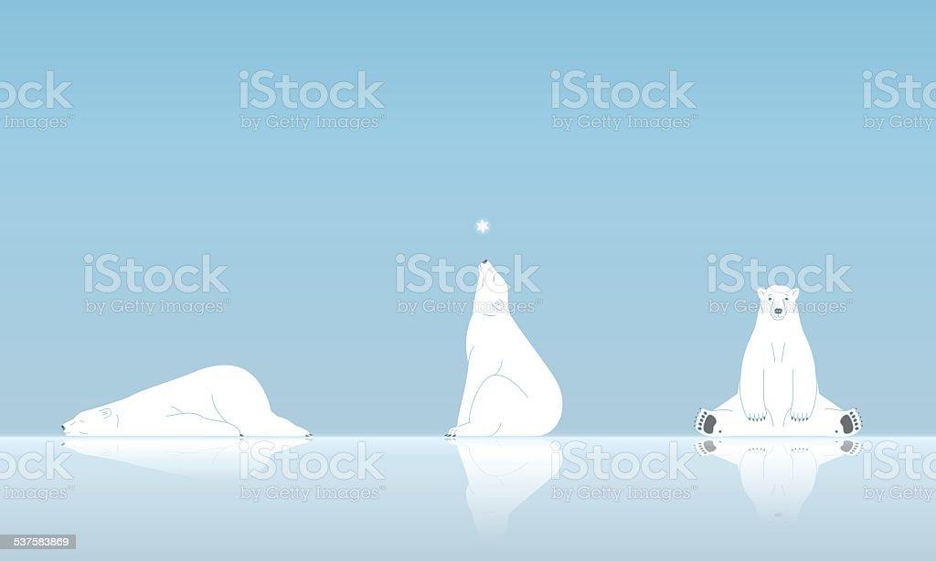 Polar bear and snow vector art illustration