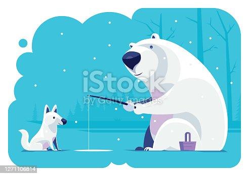polar bear and wolf fishing