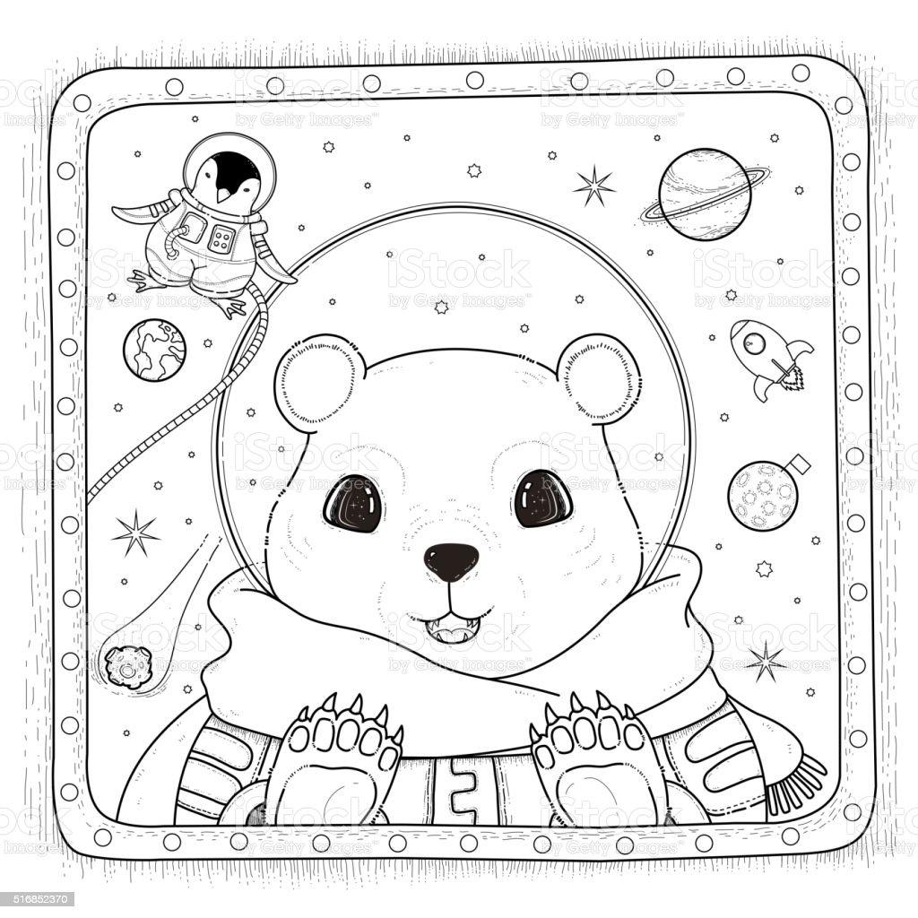 Oso Polar Astronauta Para Colorear Página - Arte vectorial de stock ...