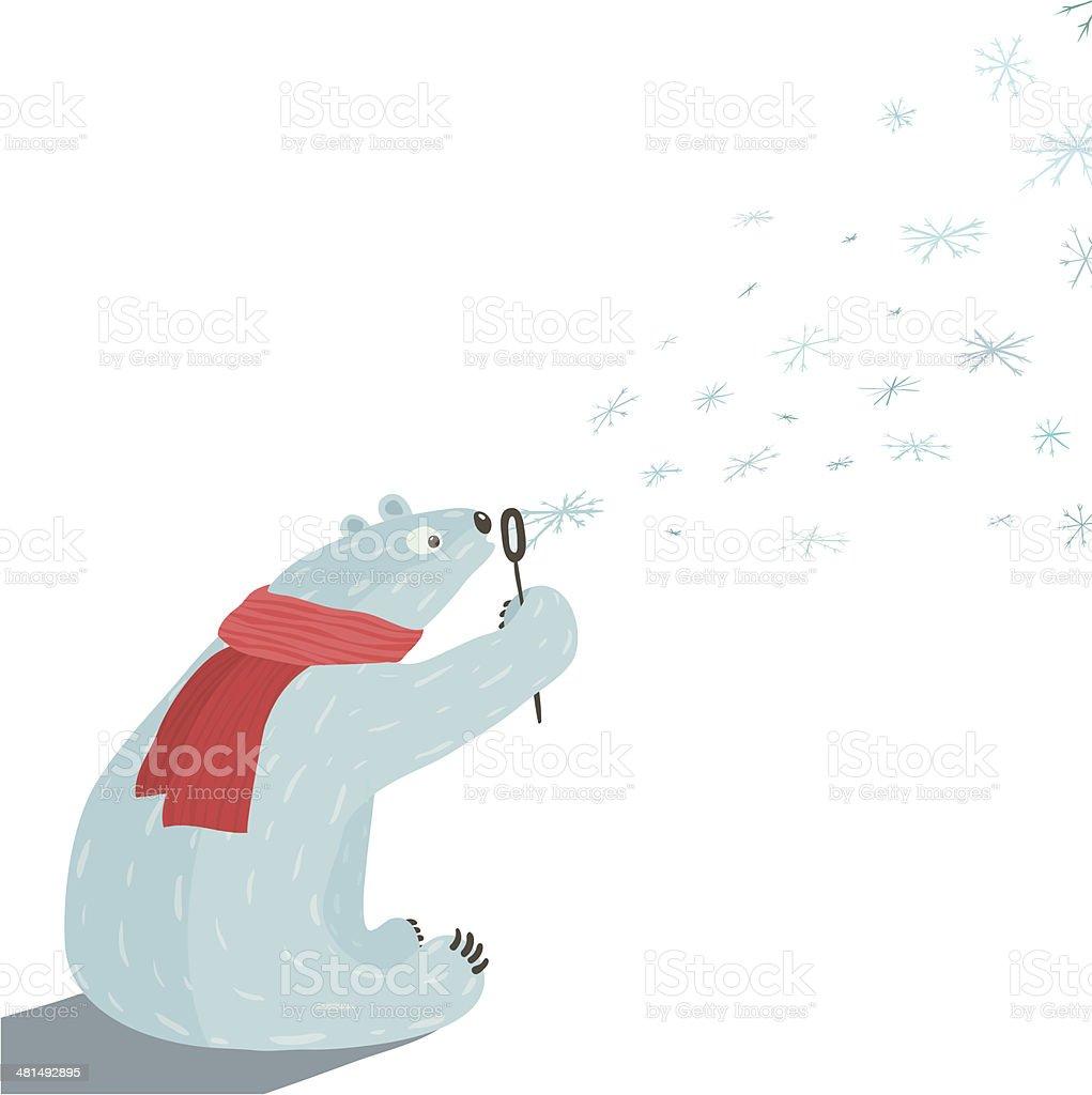 Polar Bear Blowing Snowflakes vector art illustration