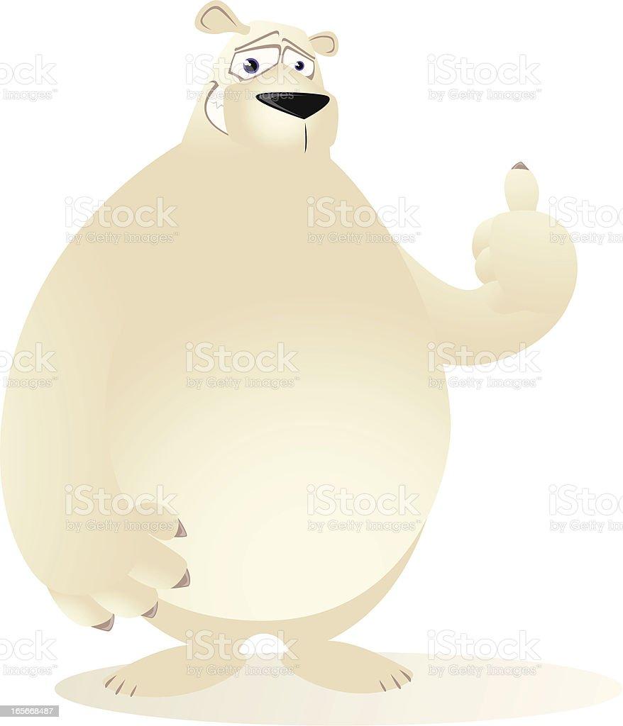 Polar Bear Cartoon - Thumbs up! vector art illustration