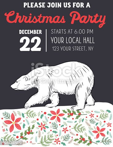 Polar Bear Christmas party invitation template with hand drawn typography.
