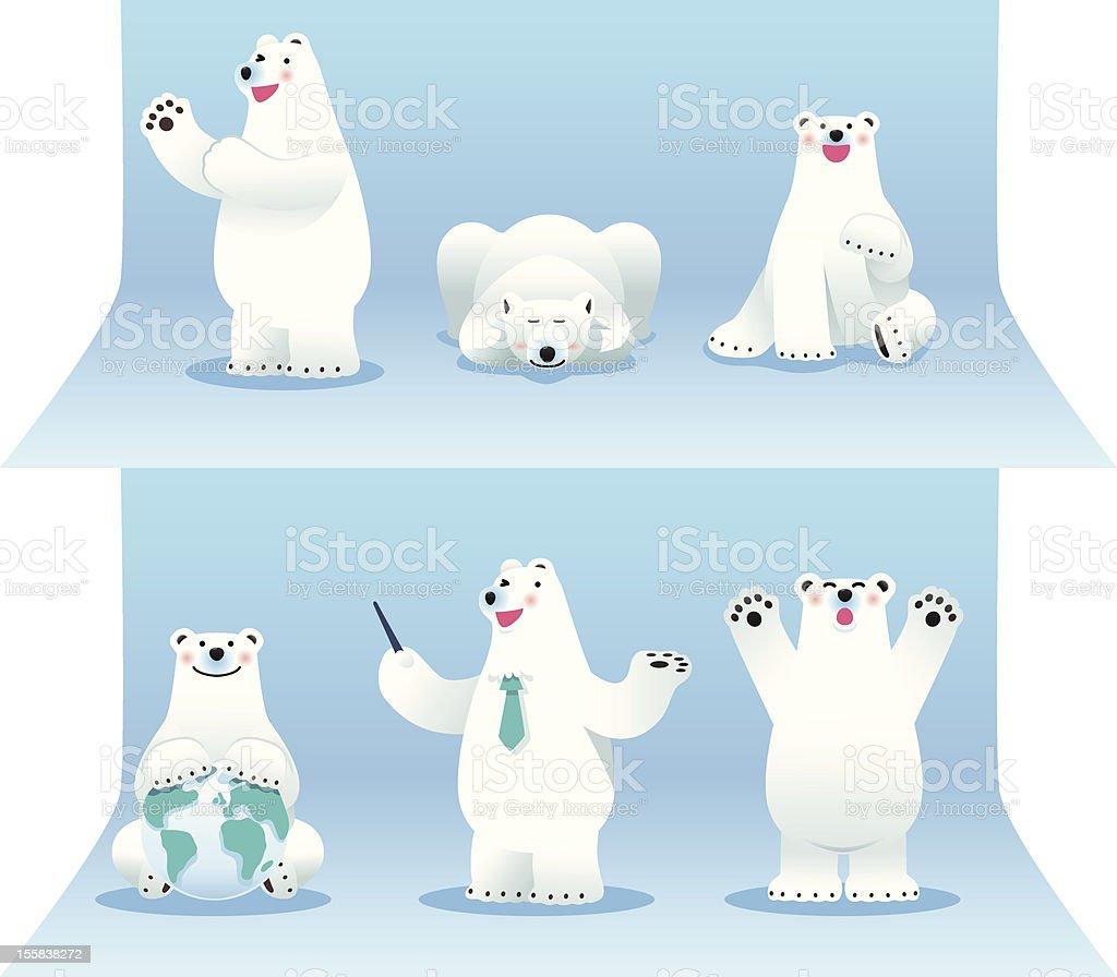 Polar bear collection vector art illustration