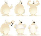 Fully editable vector illustration of a collection of cartoon polar bears in various poses.
