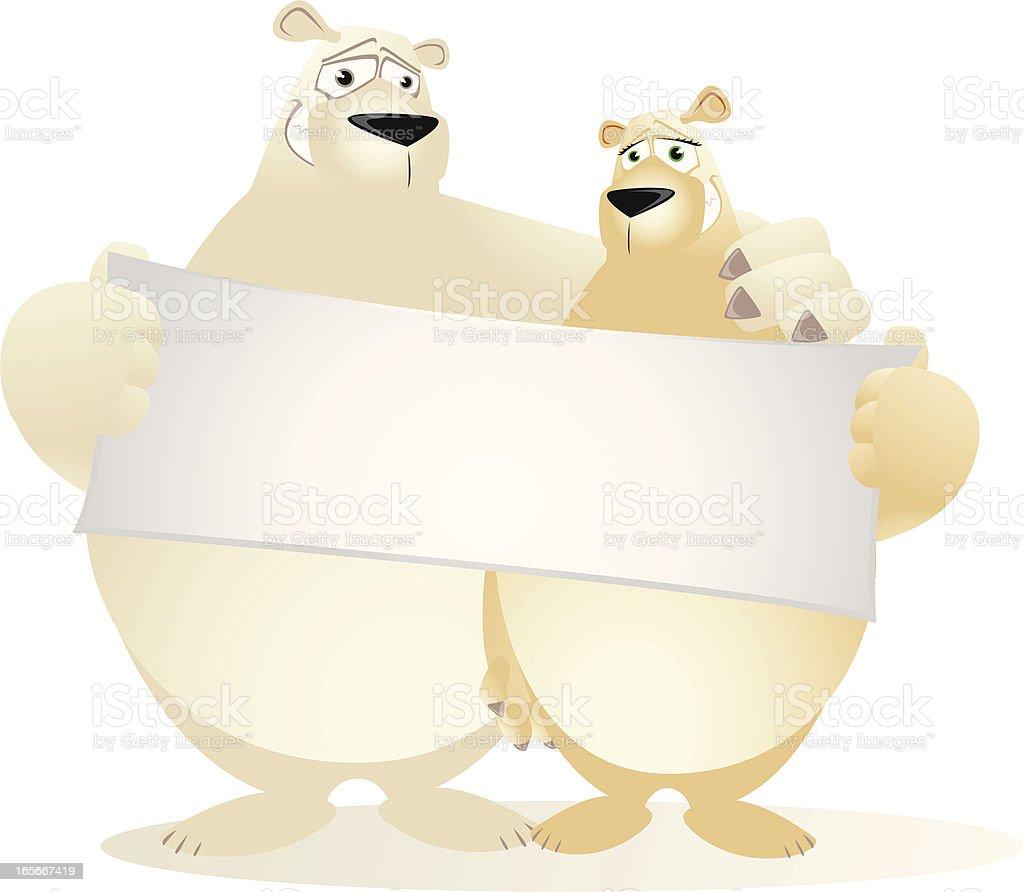 Polar Bear Couple holding a small blank banner vector art illustration