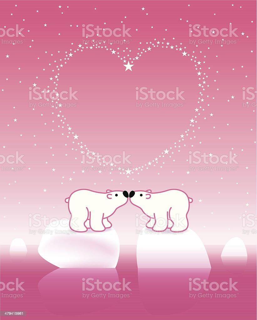 Polar Bear Couple on Icebergs with Star_Pink_Heart royalty-free stock vector art