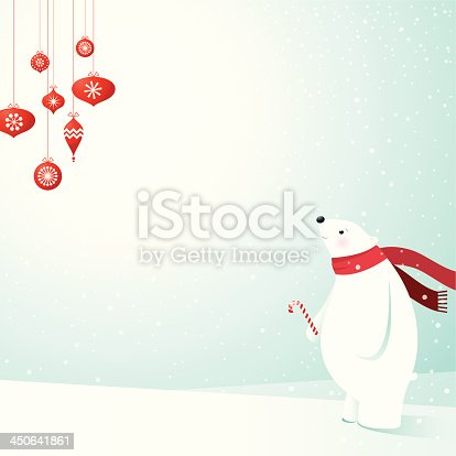 Polar bear gazes at Christmas decorations. EPS 10 file, some transparencies, all elements are grouped and layered.