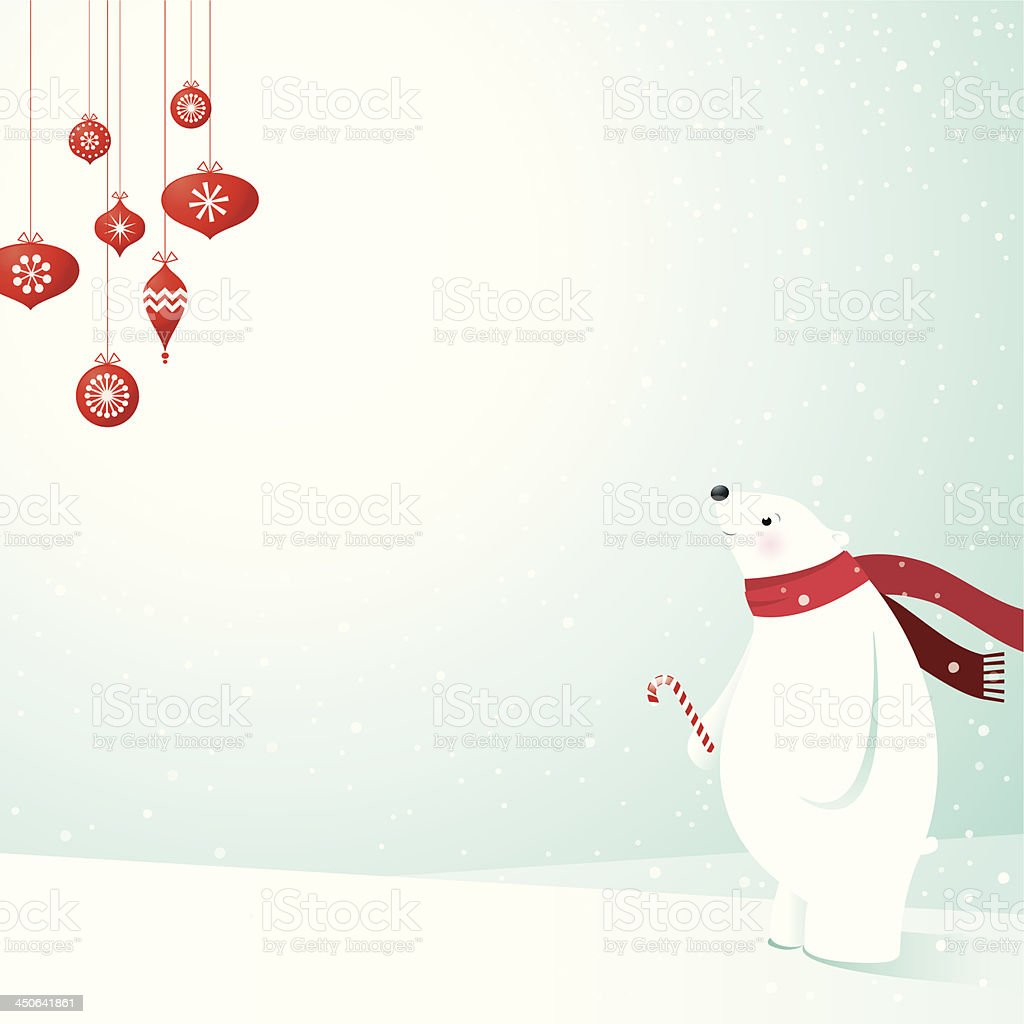 Polar Bear & Decorations vector art illustration