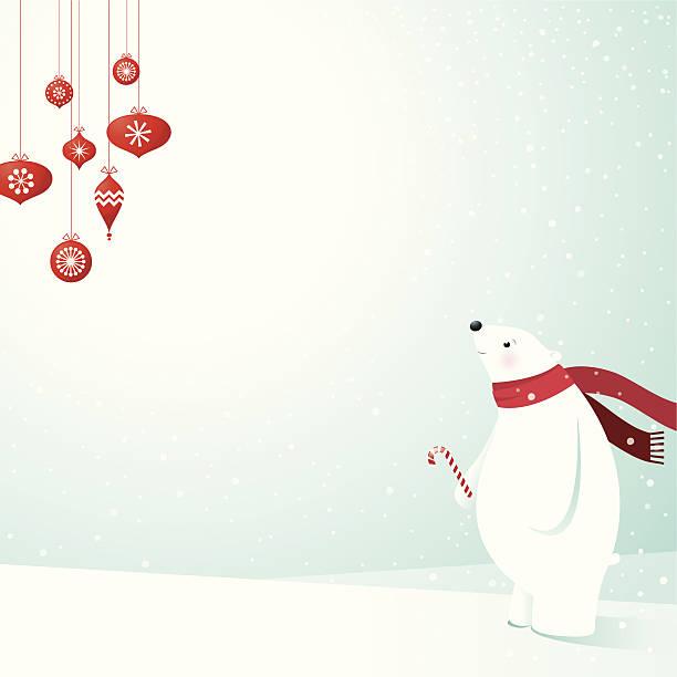 Polar Bear & Decorations vector art illustration