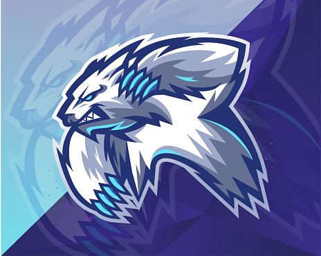 Polar Bear E Sport Mascot Logo Vector. Animal